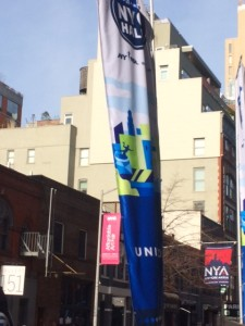 Banner outside of the building
